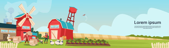 Farmers Family Wheat Mill Building Farmland Countryside Landscape Royalty Free Stock Images