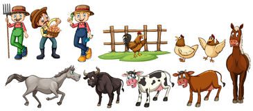 Farmers and farm animals set. Illustration Royalty Free Stock Photos