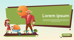 Farmers Father And Daughter Gather Pumpkin Harvest Copy Space. Flat Vector Illustration stock illustration