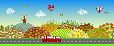 Farmers field seamless landscape. Agricultural land. Farmers field seamless landscape with road and bus. Agricultural land. Cartoon farming background. Also may Stock Photos