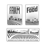 Farmers with fields badges Royalty Free Stock Photography
