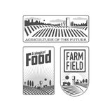 Farmers with fields badges Royalty Free Stock Images
