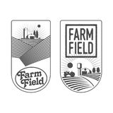 Farmers with fields badges Stock Image