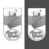 Farmers with fields badges. Farm field labels set of vector logos farming, field with a barn, land and trees, badges with fields farm badges isolated on white Stock Photo