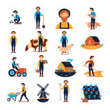 Farmers Flat icons Collection. Farmers live and work with farmhouse livestock animals and harvesting flat icons collection abstract  vector illustration Royalty Free Stock Photo