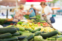 Farmers' food market stall with variety of organic vegetable. Stock Photo
