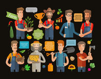 Farmers and gardeners flat agriculture icons set isolated vector illustration Stock Photography