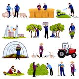 Farmers Gardeners Flat Icons Collection. Farmers and gardeners work moments harvesting  fruits raising cattle and trimming plants flat icons set isolated vector Stock Photos