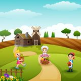 The farmers gathered in farm. Illustration of The farmers gathered in farm at daylight Royalty Free Stock Image