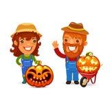 Farmers With Halloween Pumpkins Stock Image