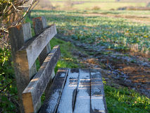 Farmers hand made Footpath Bench Stock Images