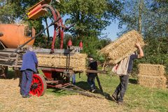 Farmers  harvesting and collecting hay during a Dutch agricultural festival Royalty Free Stock Image