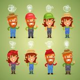 Farmers with Icons Set Stock Photography