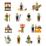 Farmers Icons Set stock illustration