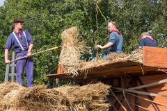 Farmers loading hay at a traditional hay-wagon during a Dutch agricultural festival Stock Image