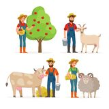 Farmers man and woman cartoon characters in various poses vector flat illustrations isolated on white background stock illustration