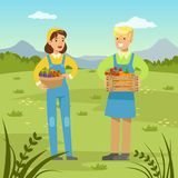 Farmers man and woman holding baskets with fresh healthy harvest of vegetables. Agriculture and farming, rural landscape vector Illustration, web banner Stock Photography