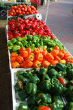 Farmers Market. Peppers fill a table at the farmers market Stock Image