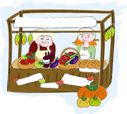 Farmers market. Illustration of stall at farmers market Royalty Free Stock Photo