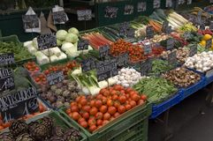Farmers Market. Vegetable stall at the market in downtown Vienna, Austria stock images