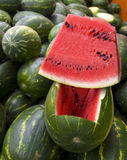 Farmers Market. A small watermelon stand inside a farmers market in a rural area of Mexico Royalty Free Stock Image