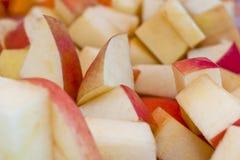 Farmers Market at Barnsdall Park. Gala apple samples on fruit stand at Farmers Market, Barnsdall Park Stock Photos
