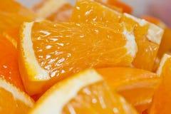 Farmers Market at Barnsdall Park. Navel Orange samples on fruit stand at Farmers Market, Barnsdall Park Stock Photo