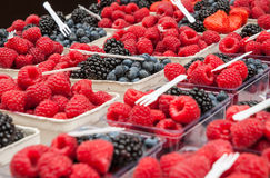 Farmers' Market Berries. Blueberries, blackberries, and raspberries in cartons arranged for sale at farmers' market Royalty Free Stock Photos