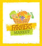 Farmers Market Creative Organic Local Food Vector Concept. Fresh Vegetables Basket Royalty Free Stock Photo