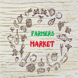 Farmers market design for the card or banner, Royalty Free Stock Photo
