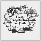 Farmers market emblem. Organic vegetarian food. Fruits and vegetables. Black and white Stock Illustration