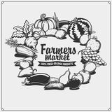 Farmers market emblem. Organic vegetarian food. Fruits and vegetables. Black and white Vector Illustration