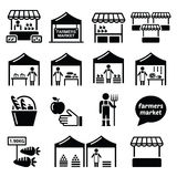Farmers market, food market with fresh local produce icons set  Royalty Free Stock Image