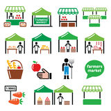 Farmers market, food market with fresh local produce icons set Royalty Free Stock Images
