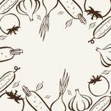 Farmers market. Frame for menu. Food design template. Vintage logo vegetables. Hand drawn illustration. Frame template vector illustration. Concept background Royalty Free Stock Images