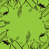 Farmers market. Frame for menu. Food design template. Vintage logo vegetables. Hand drawn illustration. Frame template vector illustration. Concept background Stock Photos