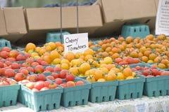 Farmers Market Fresh Cherry Tomatoes Stock Photo
