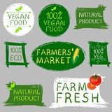 Farmers` market fresh food and vegan food logo. Hand drawn illustrations isolated on gray. VECTOR. Collection of labels vector illustration