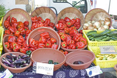 Farmers Market fresh red peppers Royalty Free Stock Images
