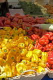 Farmers Market fresh red & yellow peppers Royalty Free Stock Photography