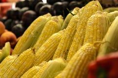 Farmers Market fresh vegtables corn stock images