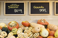 Farmers market - gourds and squash on sale royalty free stock photos