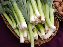 Farmers market green garlic basket. Baskets of green garlic and red potatoes at farmers market Stock Photos