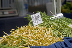 Farmers Market green and yellow beans Royalty Free Stock Photography