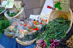 Healthy Farmers Market Organic Greens in Baskets Stock Photo