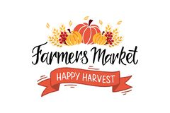 Farmers market hand lettering typography stock illustration