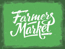Farmers market hand lettering. Vintage poster. Farmers market hand lettering on green aged background. Vegan food retail banner. Retro vintage advertising poster Royalty Free Stock Images