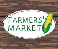 FARMERS MARKET handwritten text in oval hand drawn frame. VECTOR illustration on brown background. Stock Photography