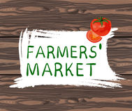 FARMERS MARKET handwritten text in square hand drawn frame. VECTOR illustration on brown background. With tomato Royalty Free Stock Images