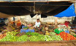 Farmers market in India. BHUBANESWAR INDIA - JUNE 11: A farmer sells fresh vegetables at a road side farmer's market on June 11, 2011 at Bhubaneswar, Orissa Royalty Free Stock Image